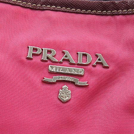 Prada(프라다) BR9325 핑크 패브릭 사피아노 레더 혼방 쇼퍼 숄더백 [인천점]