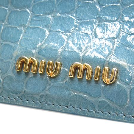 MiuMiu(미우미우) 스카이 블루 크로커다일 패턴 명함지갑 [강남본점] 이미지4 - 고이비토 중고명품