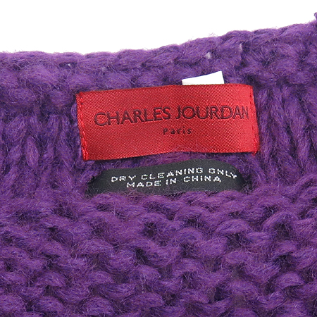 Charles Jourdan (찰스쥬르당) 100% 토끼털 퍼플컬러 머플러 겸 숄