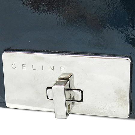 Celine(셀린느) 은장 플레이트 락 버클 장식 페이던트 은장 체인 숄더백