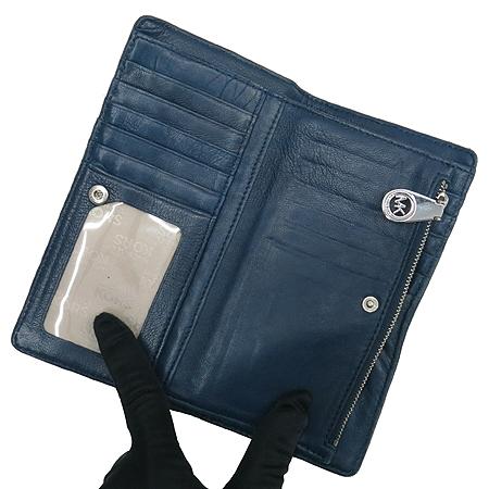 MICHAELKORS (마이클코어스) 네이비 컬러 래더 장지갑