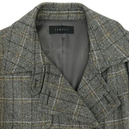 TOMBOY(톰보이) 그레이 컬러 체크패턴 코트 (허리끈 SET)