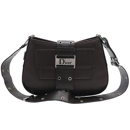 Dior(크리스챤디올) 은장 로고 장식 브라운 레더 벨트 스트랩 숄더백