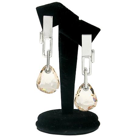 Swarovski(스와로브스키) 은장 사각 프레임 장식 구슬 큐빅 귀걸이