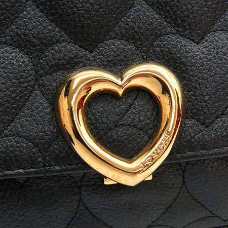 LOVCAT(러브캣) 블랙 발렌타인 로고 레더 금장 버클 숄더백