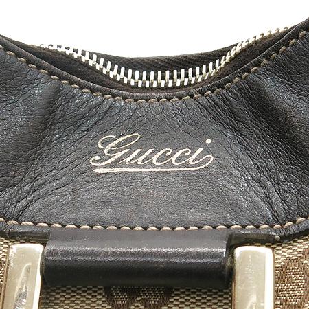 Gucci(구찌) 189833 금장 GG로고 자가드 브라운 레더 트리밍 숄더백