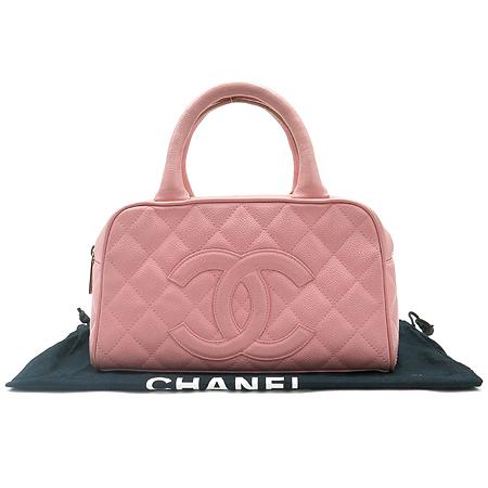 Chanel(샤넬) 캐비어스킨 COCO 로고 핑크 토트백
