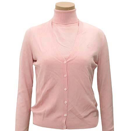 Polo Ralphlauren GOLF(폴로) 실크&캐시미어혼방 핑크 컬러 가디건 (터틀넥 나시SET)
