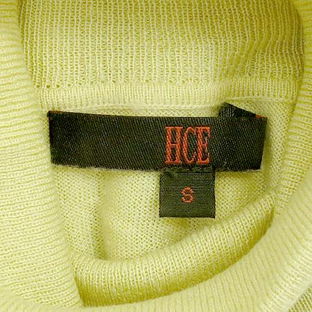 HCE(헬레나 캐시미어) 실크&캐미시머 혼방 옐로우 컬러 터틀넥 반팔 티