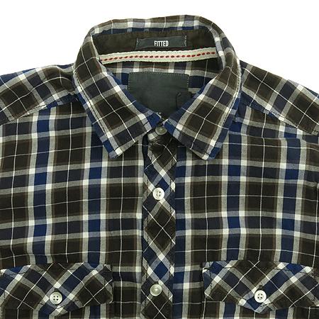H&M(에이치엔앰) 브라운&블루 컬러 블럭 스트라이프 패턴 남방