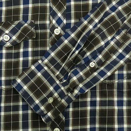H&M(에이치엔앰) 브라운&블루 컬러 블럭 스트라이프 패턴 남방 이미지3 - 고이비토 중고명품