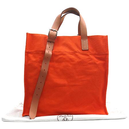 Hermes(에르메스) 에트르비에르 쇼핑 오렌지패브릭 카우하이드 혼방 벨트장식 숄더백