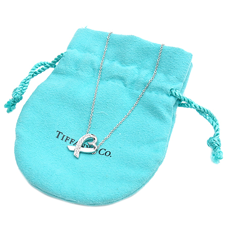 Tiffany(티파니) 18K 화이트골드 9포인트 다이아 Paloma Picasso(팔로마 피카소) 러빙하트 목걸이 [명동매장]