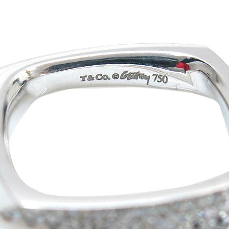 Tiffany(티파니) 21118354 18K 화이트 골드 FRANK GEHRY TORQUE(프랑크 게리 토크) 다이아 사각 반지 - 10호