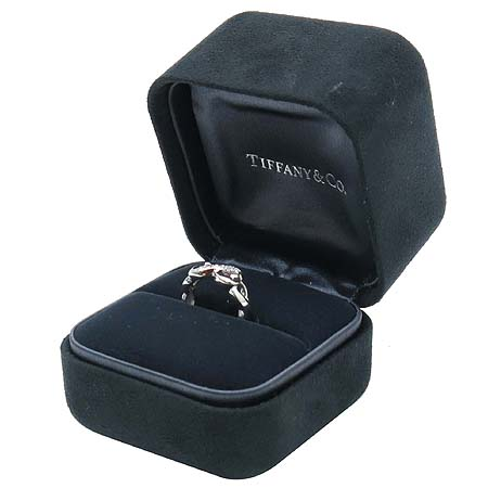 Tiffany(티파니) 18K(750) 화이트 골드 파로마 피카소 9포인트 다이아 더블 러빙하트 반지 - 7호