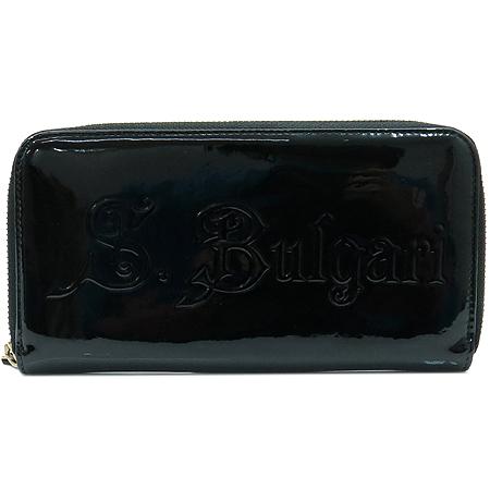 Bvlgari(불가리) 31301 블랙 에나멜 레더 로고 짚업 장지갑