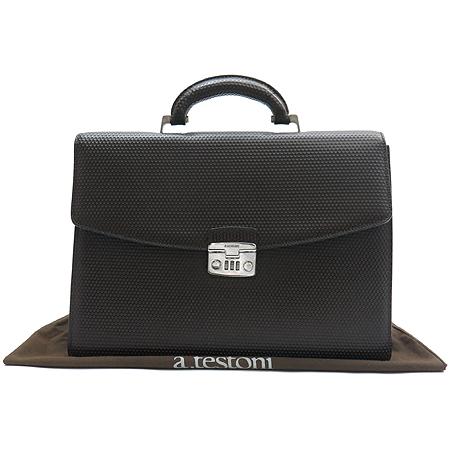 A.testoni(테스토니) 은장 버클 퍼포 패턴 브라운 레더 서류가방
