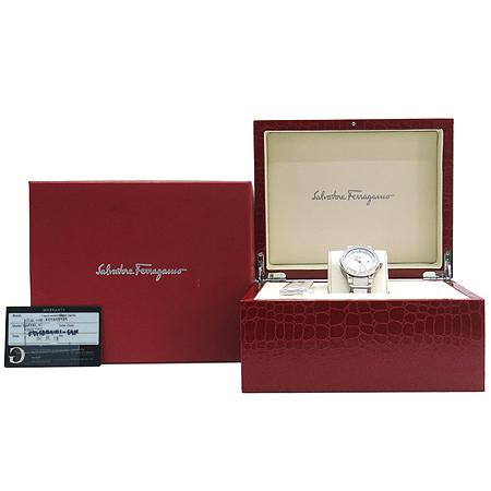 Ferragamo(페라가모) F53SBQ9101  베젤 다이아 데이트 화이트 세라믹 스틸 여성용 시계
