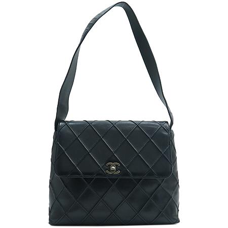 Chanel(샤넬) 빈티지 COCO로고 장식 블랙 래더 숄더백