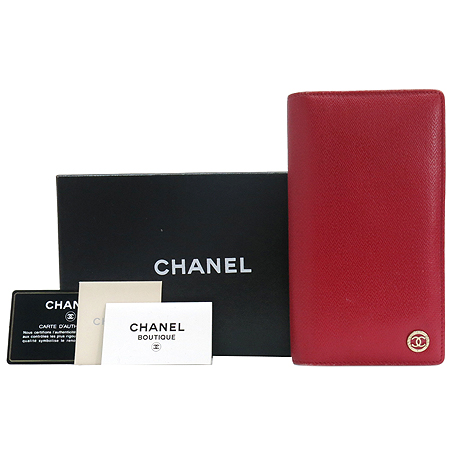 Chanel(샤넬) 금장 COCO로고 장식 레드 레더 장지갑 [명동매장]