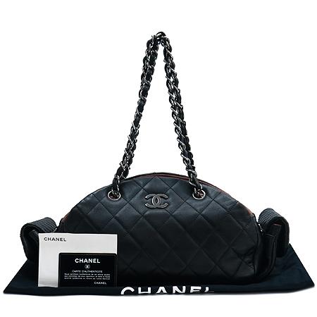 Chanel(샤넬) 은장 COCO로고 블랙 램스킨 멀티 포켓 은장 체인 숄더백
