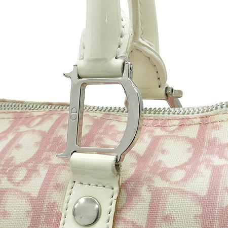 Dior(크리스챤디올) 로고 PVC 핑크 화이트 애나멜 혼방 보스톤 토트백