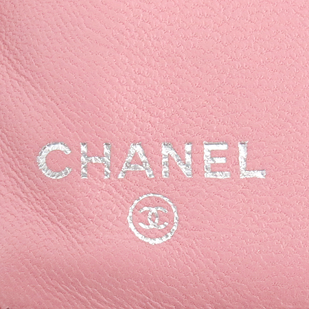 Chanel(샤넬) A48667 램스킨 핑크 은장로고 짚업 2단 중지갑