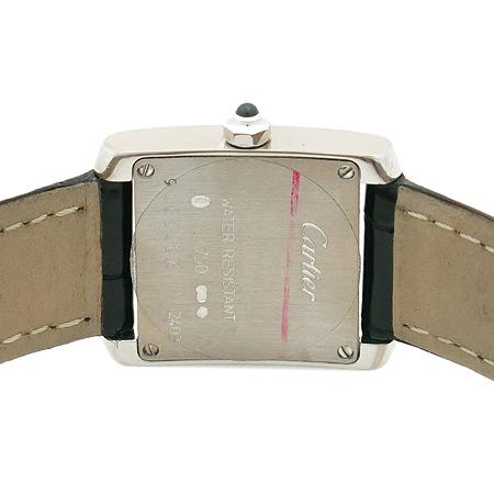 Cartier(까르띠에) 18K 화이트골드 금통 탱크 S사이즈 악어가죽밴드 여성용시계