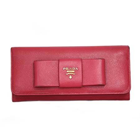 Prada(프라다) 1M1132 SAFFIANO FLICCO PEONIA 사피아노 핑크 리본장식 금장로고 장지갑 [명동매장]