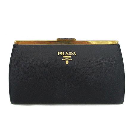 Prada(프라다) 1M1323 금장 로고 블랙 사피아노 미니 클러치 [미아현대매장]