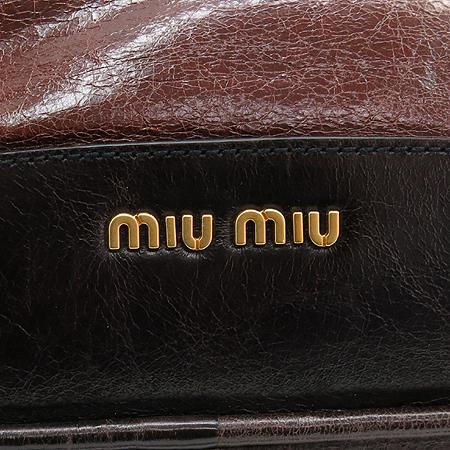 MiuMiu(미우미우) RN0564 브라운 레더 볼링 2WAY