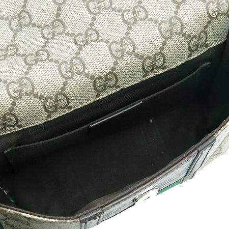 Gucci(구찌) 1669 GG로고 PVC 삼선 스티치 브라운 레더 트리밍 힙색
