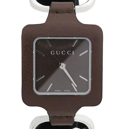 Gucci(구찌) YA130403 GUCCI 1921 브라운 베젤 가죽밴드 팔찌형 여성용시계