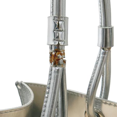 Loewe(로에베) 스웨이드 실버 메탈릭 혼방 로고스티치 투 포켓 숄더백