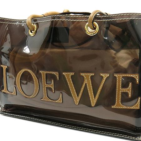 Loewe(로에베) 브라운 시스루 카멜레더 혼방 로고스티치 비치 숄더백