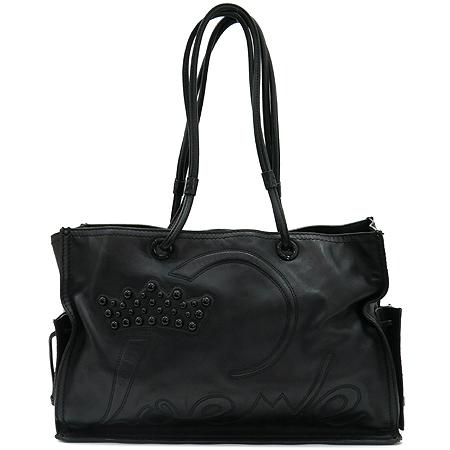 Loewe(로에베) 블랙레더 로고 장식 스티치 투 포켓 숄더백 이미지2 - 고이비토 중고명품