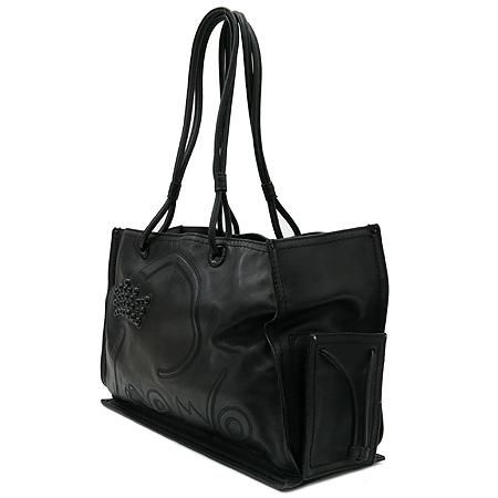 Loewe(로에베) 블랙레더 로고 장식 스티치 투 포켓 숄더백 이미지3 - 고이비토 중고명품