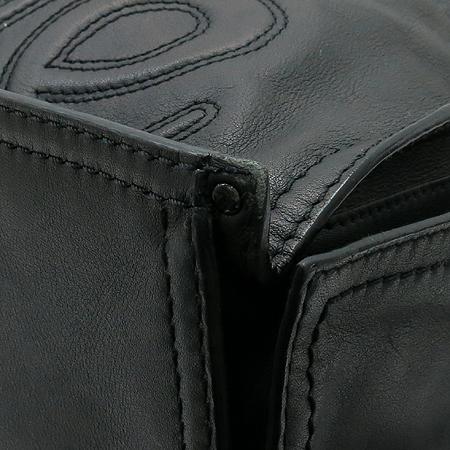 Loewe(로에베) 블랙레더 로고 장식 스티치 투 포켓 숄더백