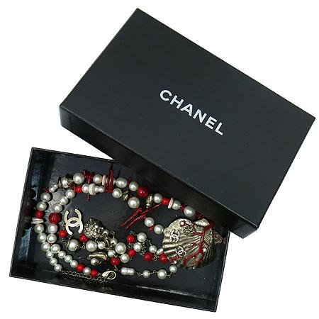 Chanel(샤넬) 레드 잼스톤 커스텀 진주 콤비 바다 컨셉 목걸이