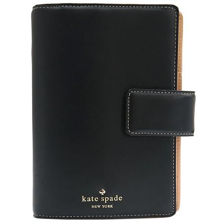 KATESPADE (케이트 스페이드) 블랙 레더 금장 로고 장식 다이어리