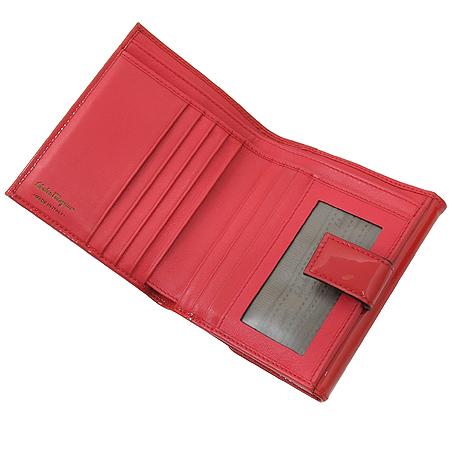 Ferragamo(페라가모) 22 A832 페이던트 핑크 리본바라장식 2단 반지갑