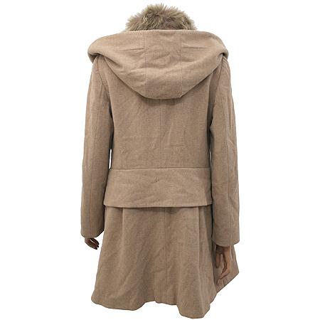 System(시스템) 베이지컬러 캐시미어혼방 후드 코트 (배색:여우털100)