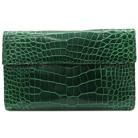 COLOMBO(콜롬보) 그린 크로커다일 레더 타스코네 장지갑 이미지2 - 고이비토 중고명품