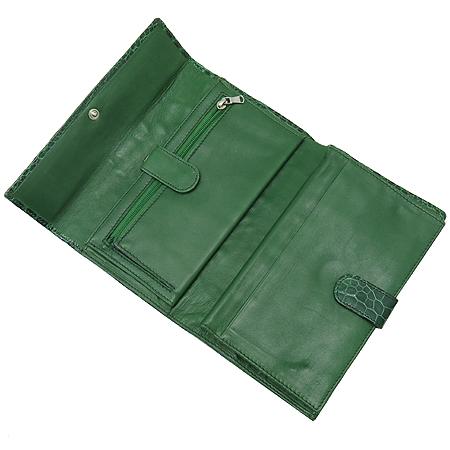 COLOMBO(콜롬보) 그린 크로커다일 레더 타스코네 장지갑 이미지3 - 고이비토 중고명품