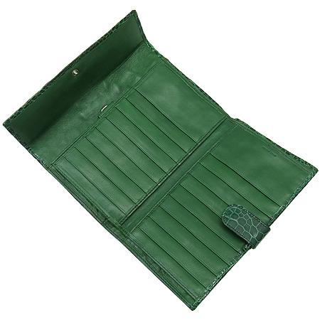 COLOMBO(콜롬보) 그린 크로커다일 레더 타스코네 장지갑 이미지4 - 고이비토 중고명품