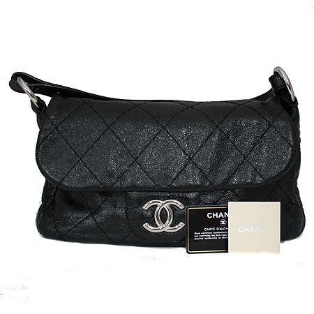 Chanel(샤넬) 은장 COCO 로고 블랙 레더 퀼팅 숄더백 [명동매장]