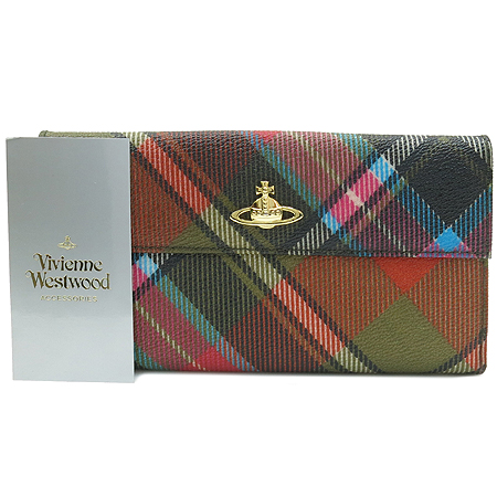 Vivienne_Westwood (비비안웨스트우드) 2801VX 금장 로고 장식 멀티 컬러 체크 장지갑