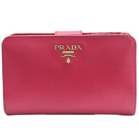 Prada(프라다) 1M1225 금장 레터링 로고 장식 사피아노 메탈 중지갑