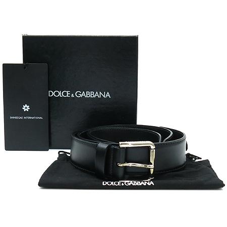 D&G(돌체&가바나) BC1726 블랙 레더 은장 버클 장식 남성용 벨트