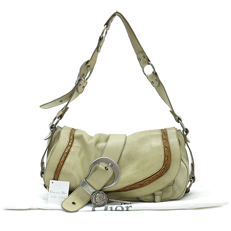 Dior(크리스챤디올) 아이보리 레더 은장 열쇠 장식 가우초 숄더백 [대구반월당본점]